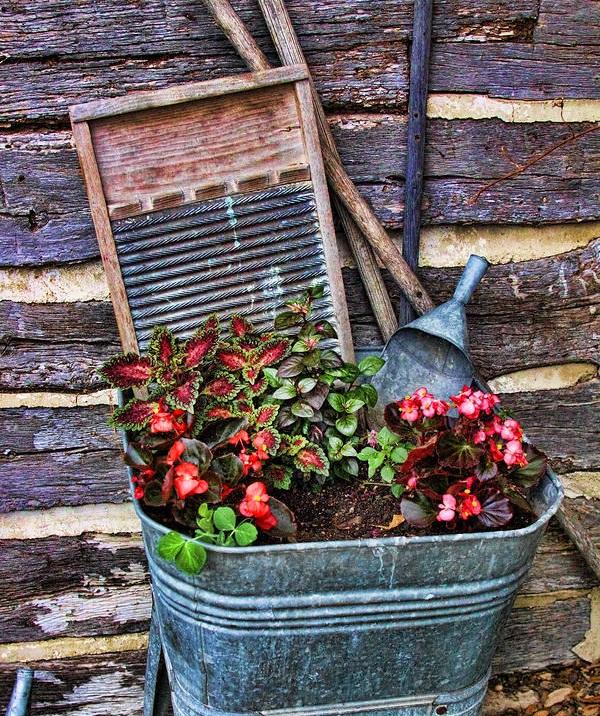 Композиция с садовым инвентарем