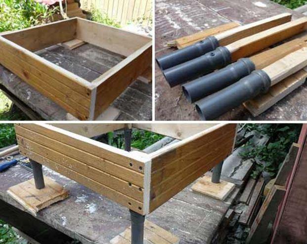 Некоторые садоводы вместо платформы используют пластиковые трубы, закрепляемые к основанию мельницы и вкапываемые в землю при установке