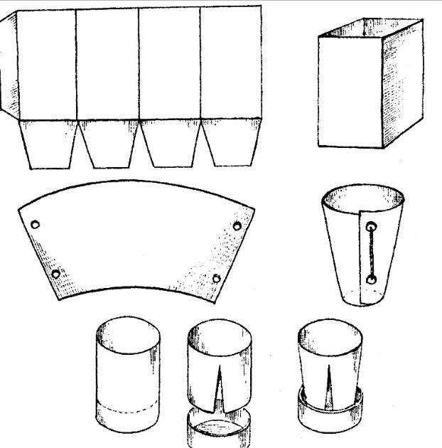 При желании и наличии дома плотной бумаги или картона индивидуальные емкости для рассады можно изготовить самому