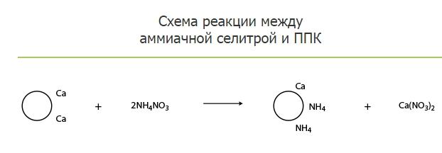 Схема реакции между амиачной селитрой и ППК