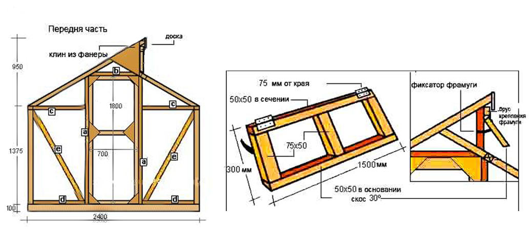 Схема реечного каркаса теплицы Митлайдера