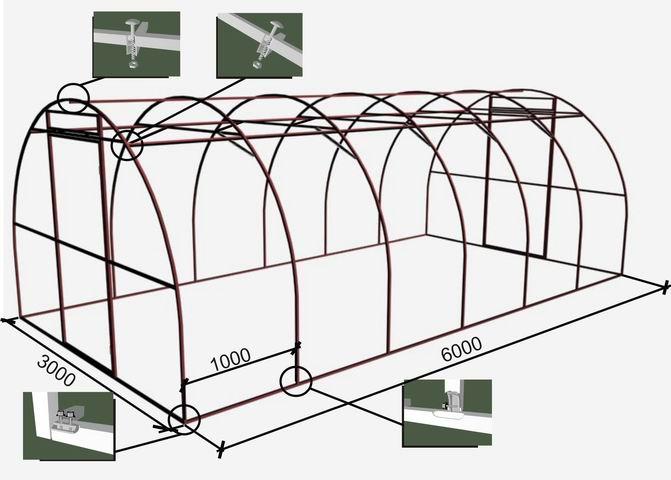 Схема сборки арочной теплицы (пример)