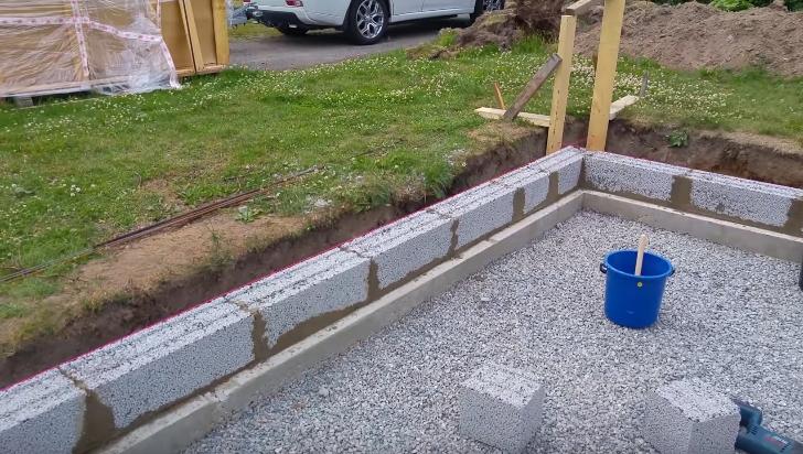 Укладка пенобетонных блоков на фундамент