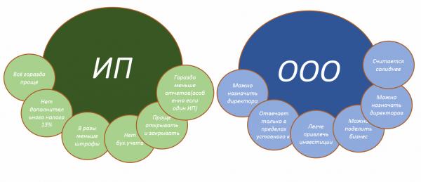 Разница между ИП и ООО