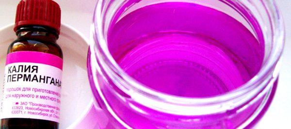 Контейнер перед использованием обмывают раствором марганцовки