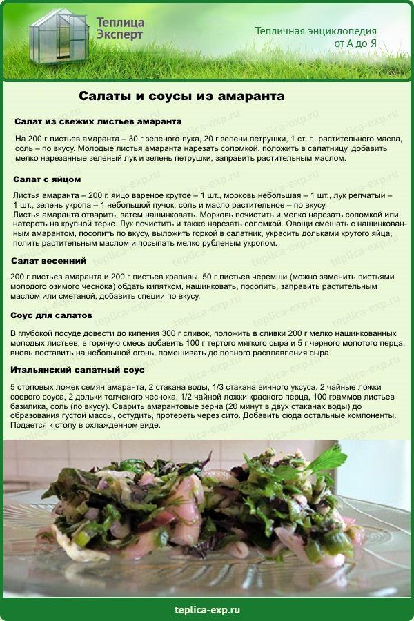 Салаты и соусы из амаранта