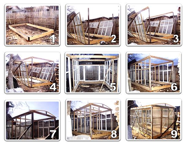 Полный процесс строительства теплицы из деревянных окон