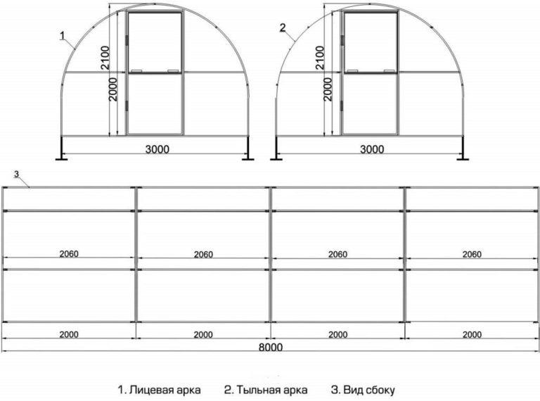 Теплицы с чертежами из поликарбоната