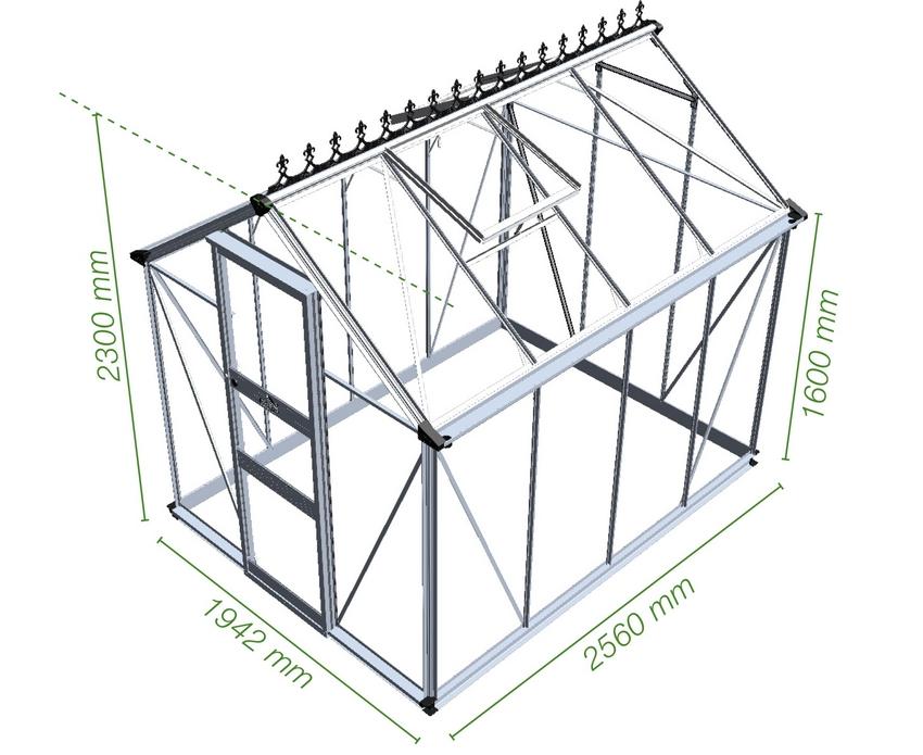 Схема двускатной теплицы (каркас из металлопрофиля)