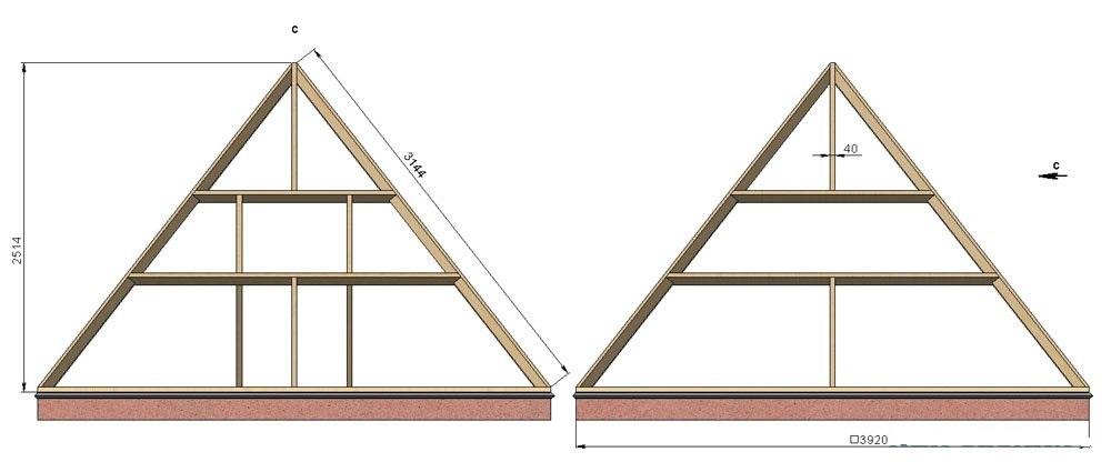 Чертеж для строительства теплицы в виде пирамиды