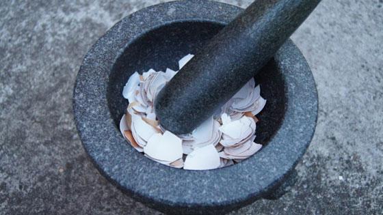 Измельчение яичной скорлупы