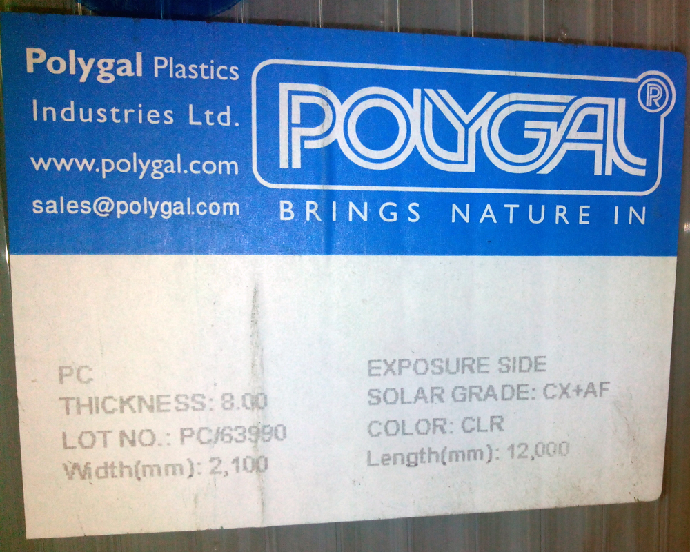 Наклейка на израильском поликарбонате Polygal