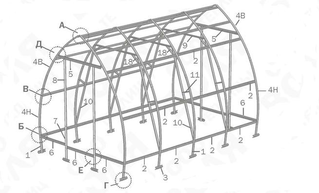 Нумерация элементов конструкции