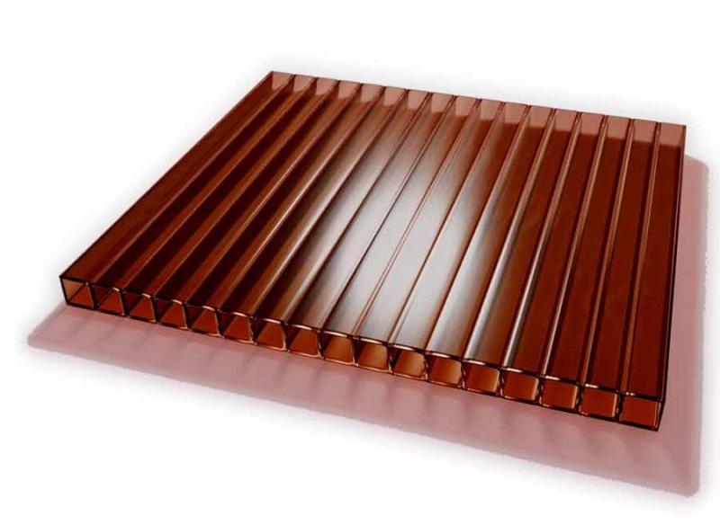 Поликарбонат сотовый бронза коричневая, 4 мм
