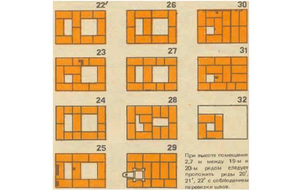 Порядовка кладки печи с 23 по 31 ряд