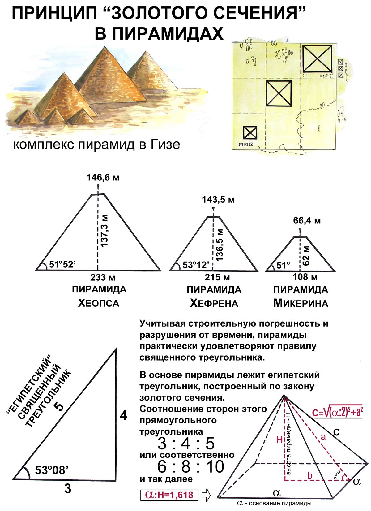 Принцип золотого сечения в пирамидах