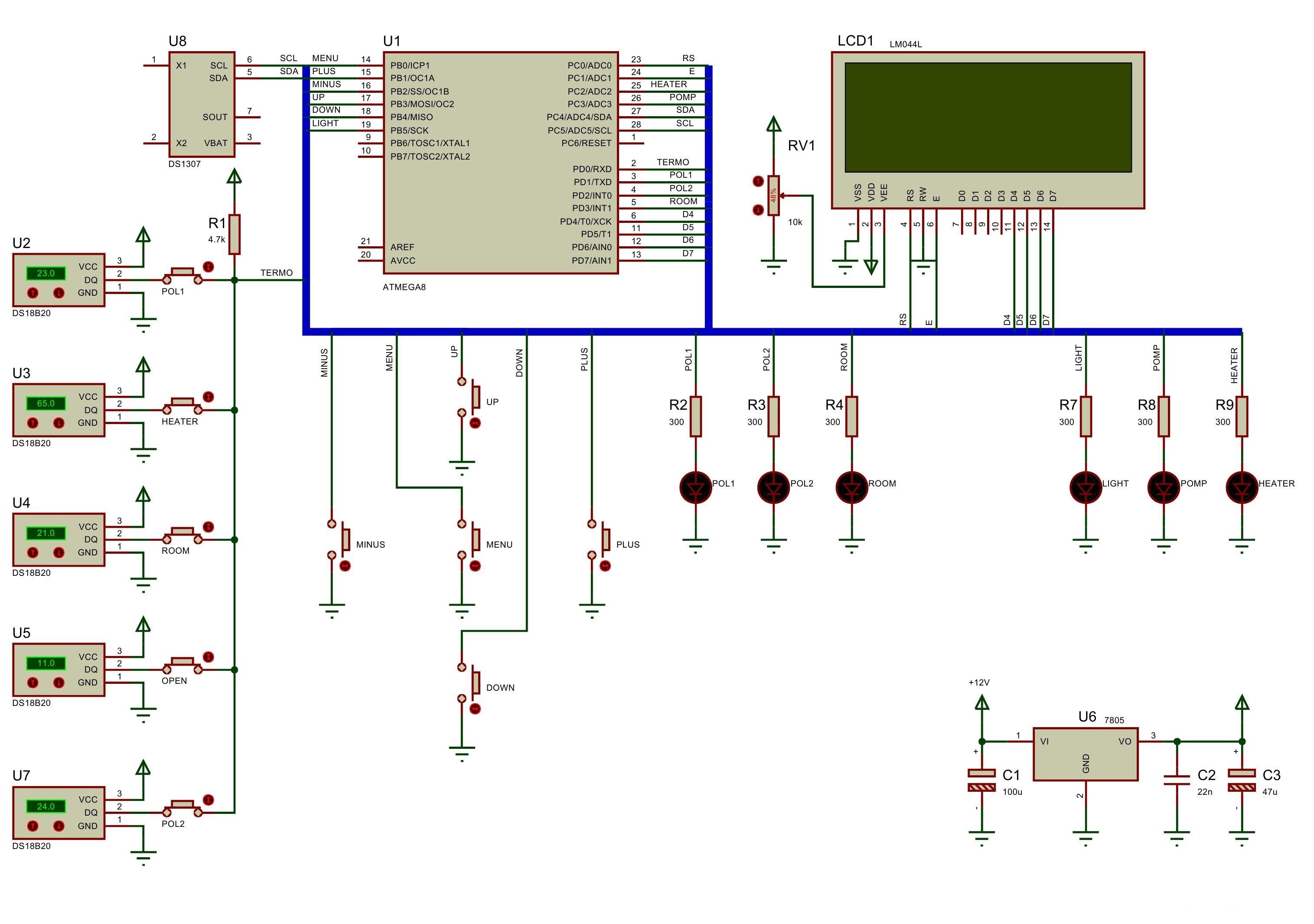 Принципиальная схема терморегулятора теплицы
