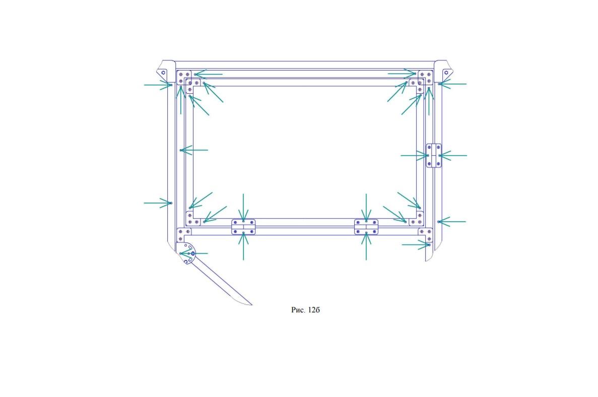 Расположение отверстий на форточке для крепления поликарбоната