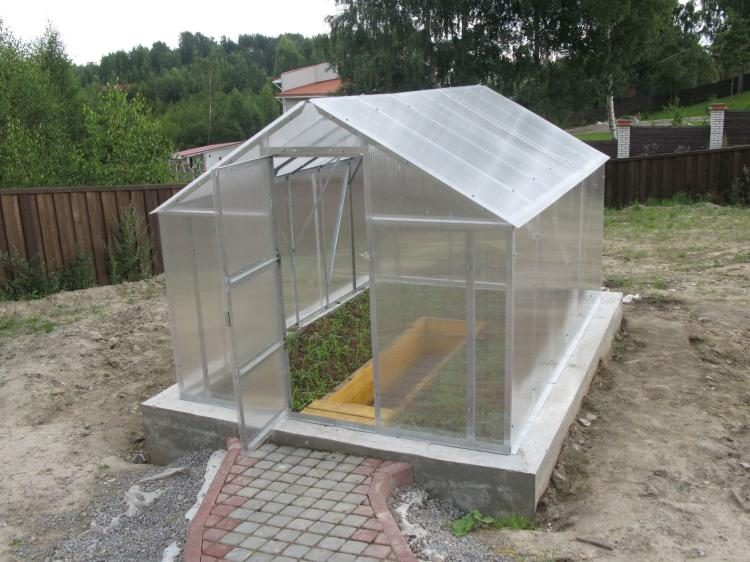 Теплица из поликарбоната на бетонном фундаменте