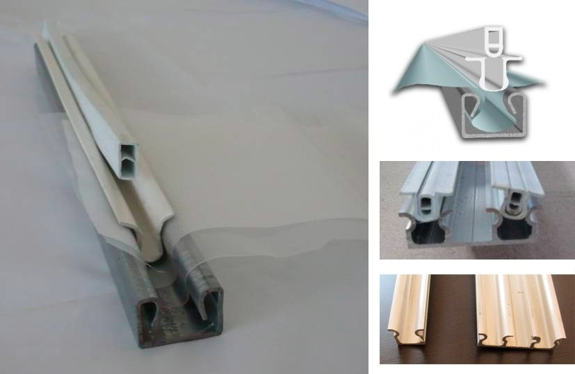 Система фиксации пленки для теплицы. Данная система фиксации состоит из 2-х частей – ПВХ-клипсы (устойчива к УФ-излучению) и оцинкованного (алюминиевого) профиля. Принцип ее работы понятен – ПФХ защелкивается в профиле вместе с пленкой без каких-либо повреждений материала. Крепят систему на крышах, боковых стенках и торцах