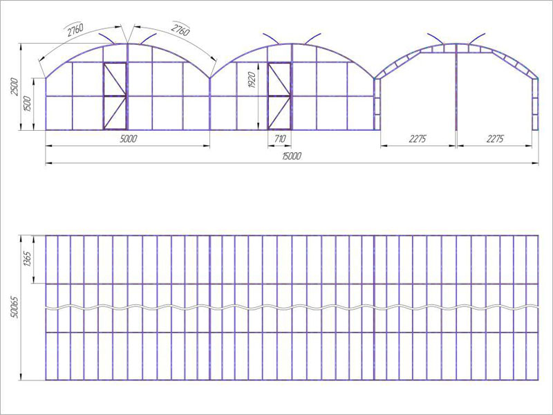 Примерное представление о размерах промышленных теплиц может дать чертеж данного сооружения, состоящего из трех арочных секций, соединенных в один комплекс. Все измерения даны в миллиметрах