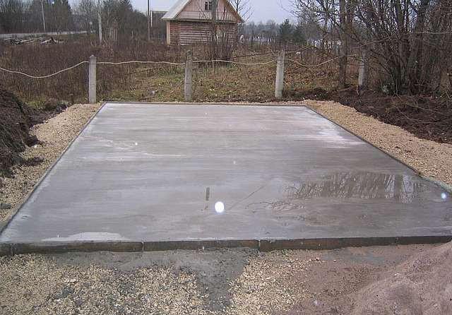 Плитный фундамент для теплицы