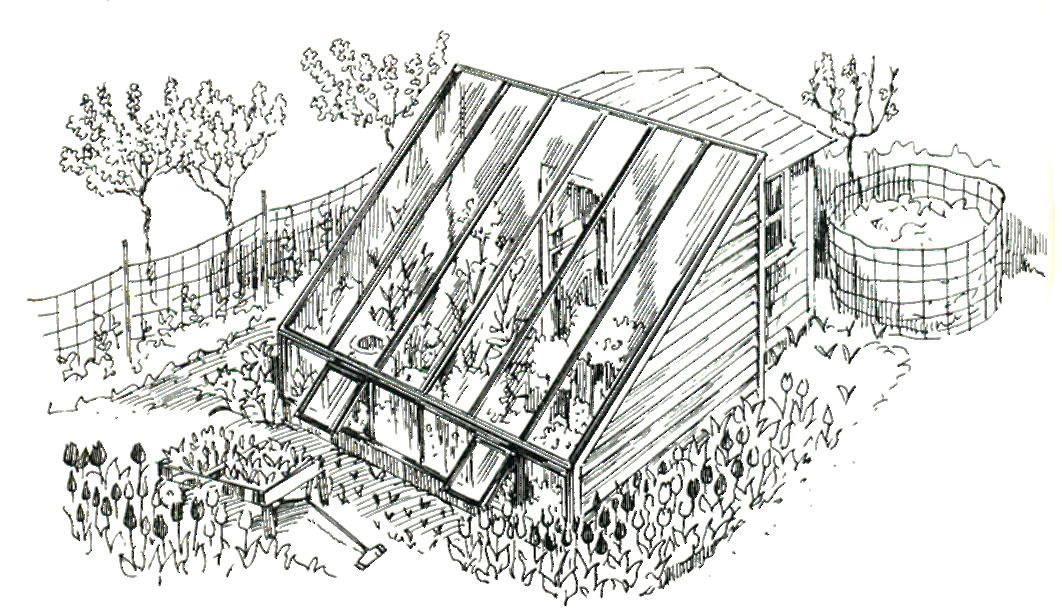 Проект утепленной теплицы с наклонной крышей и пристройкой для пересаживания растений