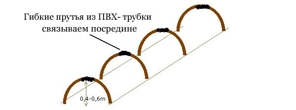 Прутья или трубки наклоняем в середину и связываем шнуром. Края пленки присыпаются землей. К колышкам сначала привязывается шнур, а потом пленка.