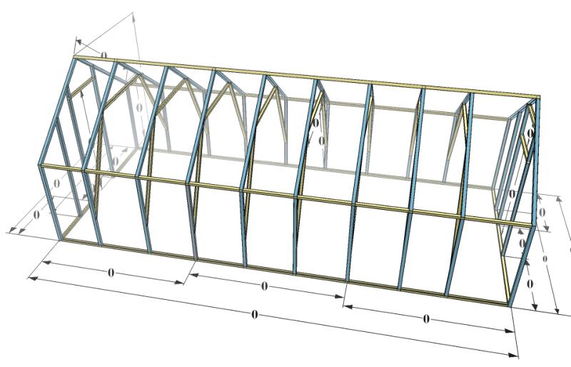 Схема двухскатной теплицы (вид сверху)