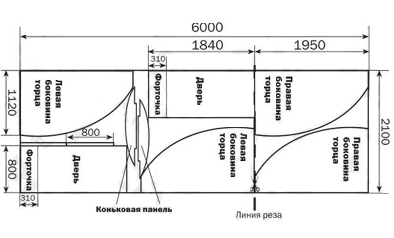 Схема раскроя листа поликарбоната