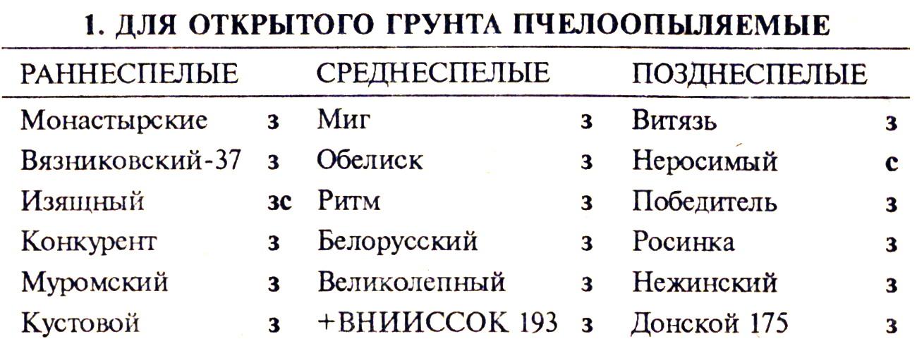 Сорта и гибриды огурцов
