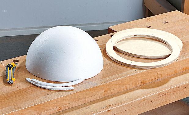Купол и кольцо, вырезанное из фанеры