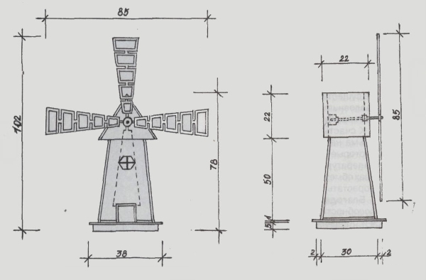 Пример чертежа с простейшим подвижным механизмом
