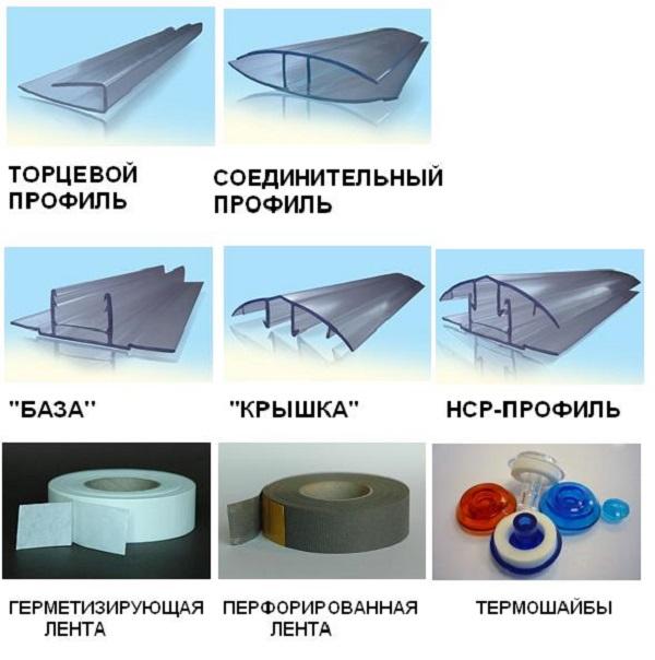 Профиль и саморезы для поликарбоната