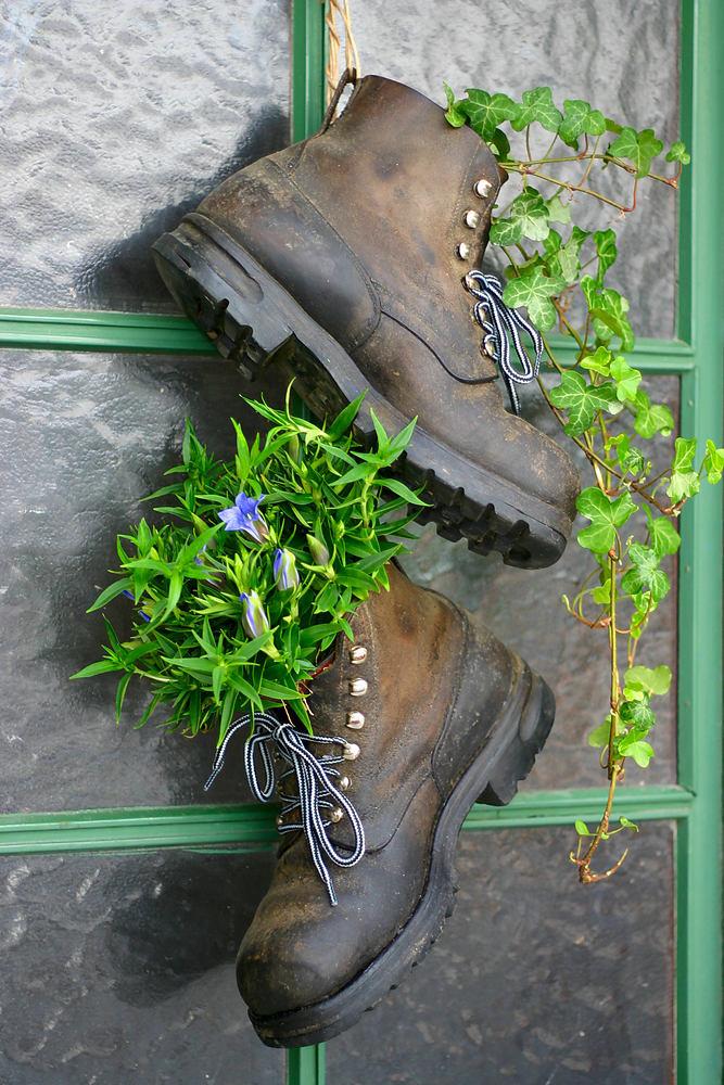 Старые ботинки в качестве клумбы
