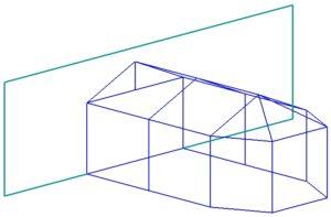 Пристройка с двухскатной и трехлучевой крышей